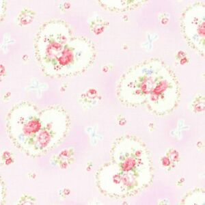 Cottage-Shabby-Chic-Lecien-Princess-Rose-Hearts-Fabric-31266L-110-Lavender-BTY
