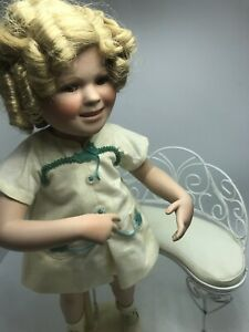 Danbury-Mint-16-034-Shirley-Temple-034-Our-Little-Girl-034-Porcelain-doll-w-Chair-Bench