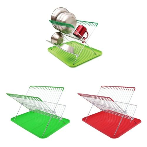 Foldable 2 Tier Stainless Steel Kitchen Dish Cup Drying Rack Holder Drainer