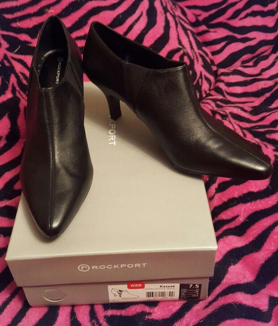 moda classica Rockport Rockport Rockport Craving Shootie leather ankle avvio K62668 7.5W nero - NEW in box  negozio di moda in vendita