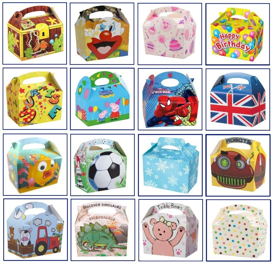 250 x enfants sur le thème de transporter la Nourriture Repas Box Birthday Party Loot Bag Cases