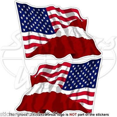 USA United States America-LATVIA American-Latvian Flying Flag 120mm Stickers x2