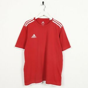 Vintage-ADIDAS-Small-Logo-T-Shirt-Tee-Red-Large-L