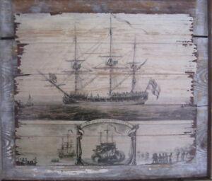 Holz Wanddeko Pub Wandboard Schiff Segelschiff Maritim Holz Antik