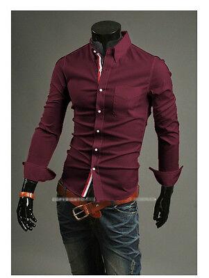 New Stylish Mens Slim Fit Casual Shirt Shirts Top Long Sleeve  S M L XL XXL PS02