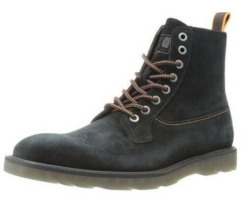 HUGO BOSS Newin Dress Black Brown Leather Suede Lace-up Boots 13 Mens