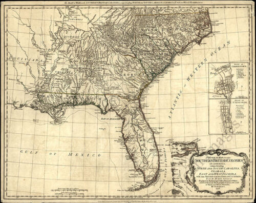 Map of the southern British colonies in America c1776 repro 30x24