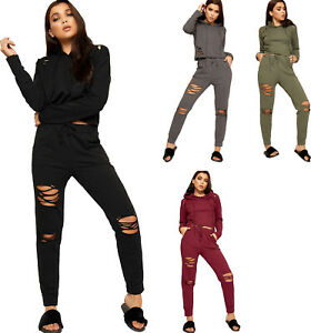Womens-Ripped-Distressed-Hoodie-Top-Pants-Trouser-Bottoms-Ladies-Loungewear-Set
