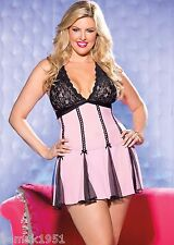 Pink Net with Black Lace Halter Baby Doll and G-tring Queen Size Shirley 96389Q