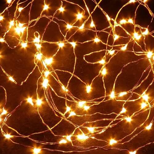50 DEL Guirlande électrique fil de cuivre guirlande électrique Batterie éclairage extérieur blanc chaud