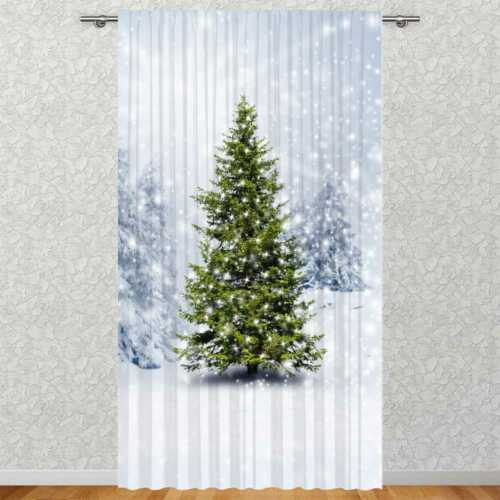 """Vorhang /""""Winter Schnee Tannenbaum/"""" 135x245 cm Fotovorhang Motiv Digitaldruck"""