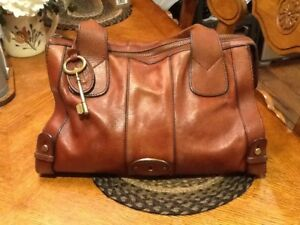 Image Is Loading Fossil Vintage Reissue Brown Leather Satchel Handbag Tote