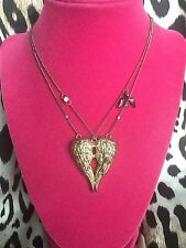 Betsey Johnson Vintage Fly With Me Gold Angel Wing Crystal Heart Dove Necklace