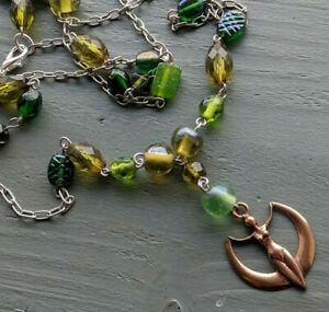 Bronze Earth Goddess Focal /& Glass Green Beaded Necklace Wicca Pagan jewellery