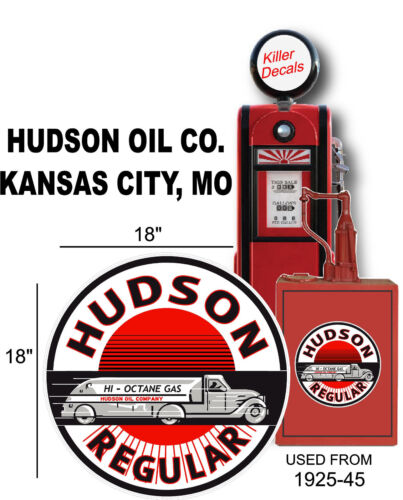 "GASPUMP 18/"" 1925-45 HUDSON SEMI TRUCK TANKER GASOLINE DECAL OIL CAN HUDSON-1"