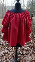 Tavern Wench Gypsy Renaissance Pirate Blouse Chemise Barn Red Handmade