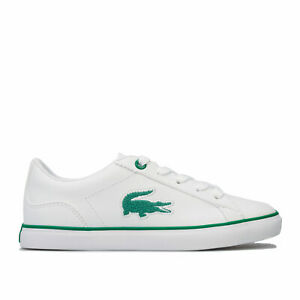 Infant Boys Lacoste 318 Lerond Trainers In White Green Lace Fastening
