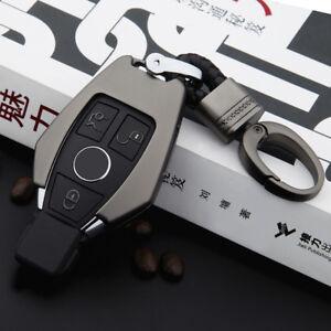 Mercedes-Benz-Key-Metal-Chrome-Case-Cover-Bag-Car-Logo-Keyring-Chain-Gray