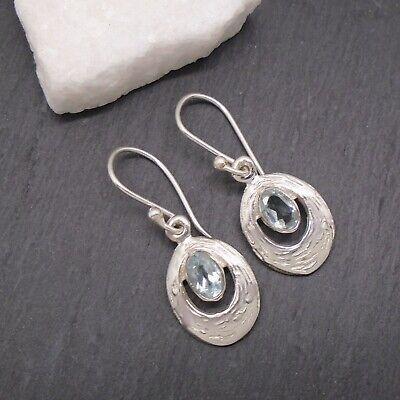Damen Verlobung Schmuck 925 Massiv Silber Blau Topas Ohrhänger Ohrringe