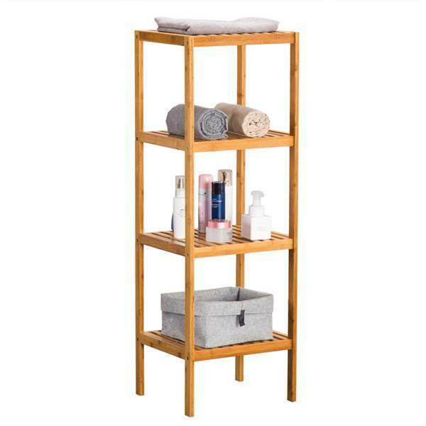 US Bamboo Wooden Bookcase Bookshelf 4-Tier Storage Rack