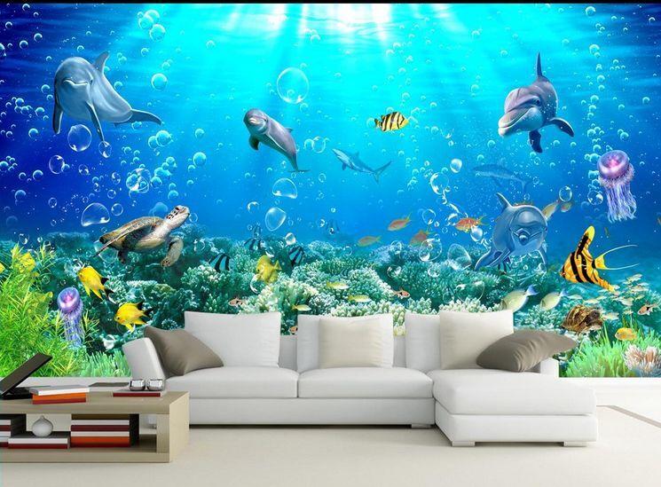 3D blue biologico Parete Murale Foto Carta da parati immagine sfondo muro stampa
