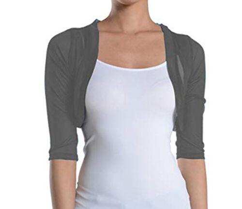 Fashion Secrets Women`s Charcoal Grey 3//4 Chiffon Bolero Shrug Cropped Cardigan