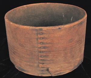 Afrika Antik Markierte 1807 Primitive Shaker Kiste Korb Handgefertigt Alte Nägel Folk FöRderung Der Produktion Von KöRperflüSsigkeit Und Speichel