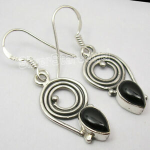 Vintage-Style-Earrings-925-Solid-Sterling-Silver-BLACK-ONYX-Jewelry-1-4-034-NEW