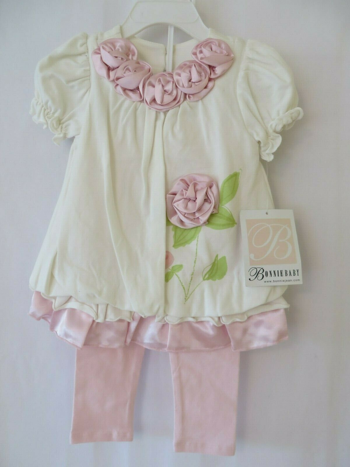 Bonnie Jean Baby Dress W Leggings Fabric Roses Details White Pink 24 Mos U9512 For Sale Online Ebay