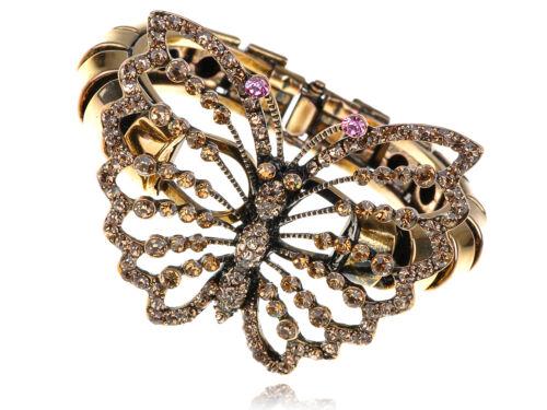 Lady Cristal Strass Ton or Papillon Insecte Bug Bracelet Bangle Cuff Band