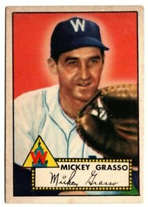 1952-Topps-Baseball-90-Mickey-Grasso-VG-SENATORS-BACK-DAMAGE