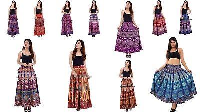 Indian Women Mandala Print Rapron Printed Cotton Long Skirt Hippie Wrap Dress