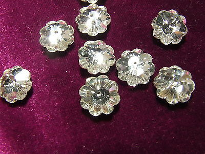 2 Clear Crystal Glass 11 mm Floral Bead Buttons Jewelry Making UK Seller Fast PP