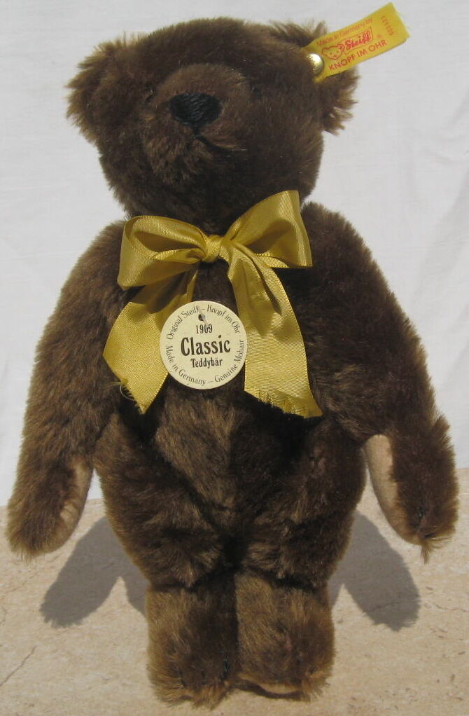 Minty Steiff Classic 1909 Chocolate marrone Bear, Jointed, Squeaker
