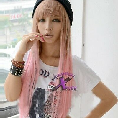 Long Straight Pink Mixed Brown 80cm Lolita Fashion Wig