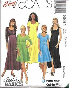 8841-UNCUT-Vintage-McCalls-Sewing-Pattern-Misses-Easy-High-Waist-Pullover-Dress