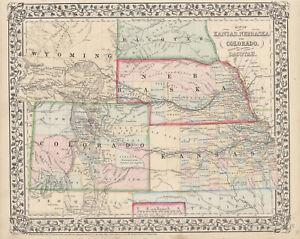 1867-S-A-Mitchell-034-Map-of-Kansas-Nebraska-and-Colorado-034-Original