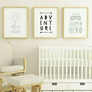 Child-Bedroom-Nursery-Wall-Art-Prints-Decor-Pictures-Boy-Girl-Grey-Scandinavian