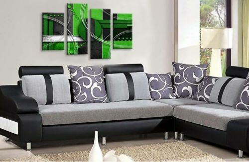 LARGE ABSTRACT ART PICTURE Lime Green Black Grey Wall Canvas Print Multi