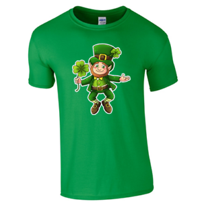 Dia-de-San-Patricio-Duende-Irlandes-Irlanda-Patricks-Hombres-Mujeres-Unisex-Camiseta-3386