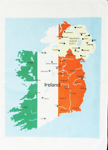 Ireland And Northern Ireland Map.Map Of Ireland And Northern Ireland Large Cotton Tea Towel By Half