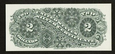 Proof Print by the BEP Back of 1886 Two Dollar Silver Certificate
