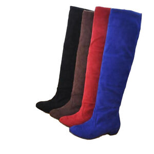 Women-Ladies-Suede-Casual-Solid-Over-The-Knee-Winter-Boots-Shoes-Size-Long-Boots