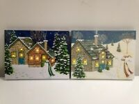 Lighted Snowman Cabin Picture on Canvas w Led Lights Wall Art Christmas Decor