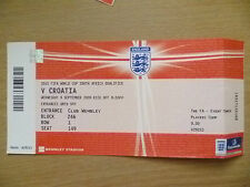 Org Tickets- 2010 World Cup South Africa Qualifier- ENGLAND v CROATIA, 9 Sept