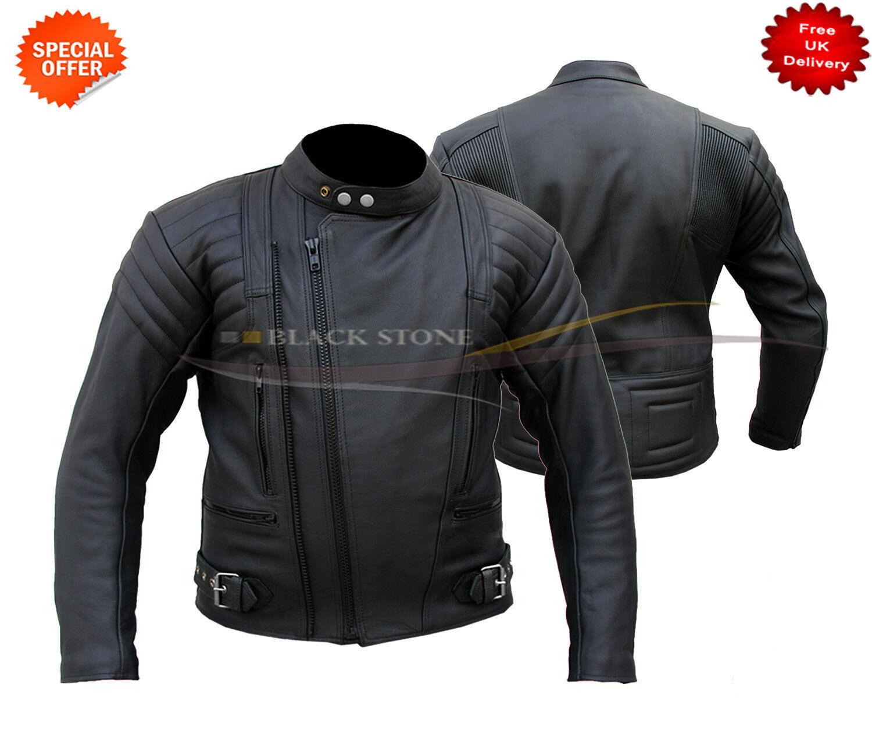 Negro Chaqueta de cuero estilo Terminator xs-4xl