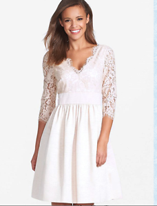 e3c68fa8a75 Image is loading ELIZA-J-SCALLOPED-BLUSH-LACE-BODICE-FIT-amp-