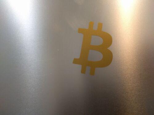 """Bitcoin Logo Vinyl Decal Sticker Gloss Gold Metallic 2/"""" x 2/"""" 1//2 4 pack"""