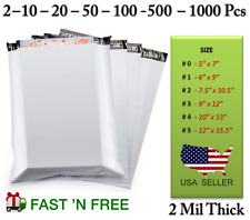 Poly Mailers Plastic Bags Envelopes Shipping Self Seal Water Proof 2 Mil White