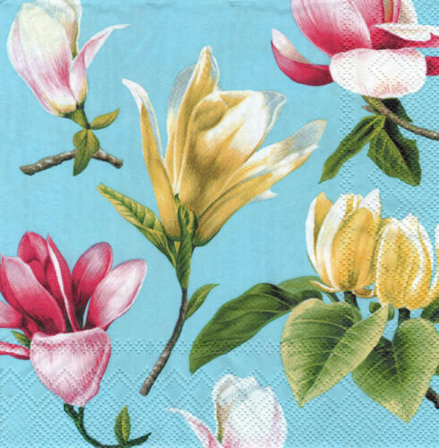 4 lose Servietten Napkins Blumen Flowers Magnolia